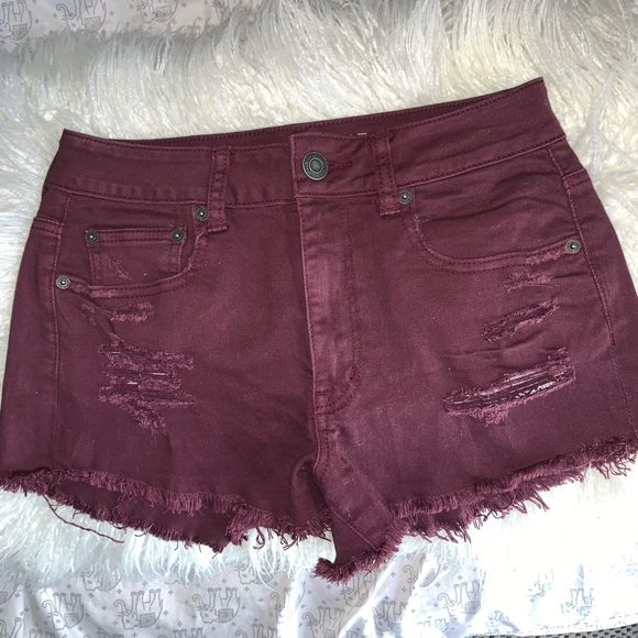 American Eagle Outfitters Pants - Distressed maroon jean shorts